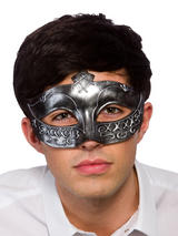 Adult Mens Gladiator Eye Mask Antique Silver