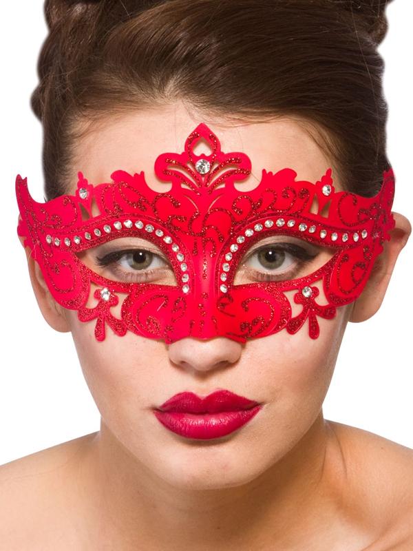 Adult Ladies Demonte Eye Mask Red
