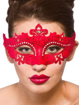 Adult Ladies Demonte Eye Mask Red