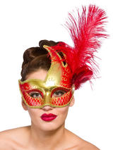 Adult Ladies Revello Eye Mask Gold & Red