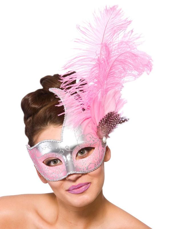 Adult Ladies Revello Eye Mask Silver & Pink