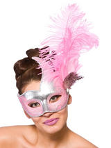 Adult Ladies Revello Eye Mask Silver & Pink