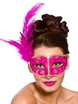Adult Ladies Bellini Eye Mask Pink & Gold