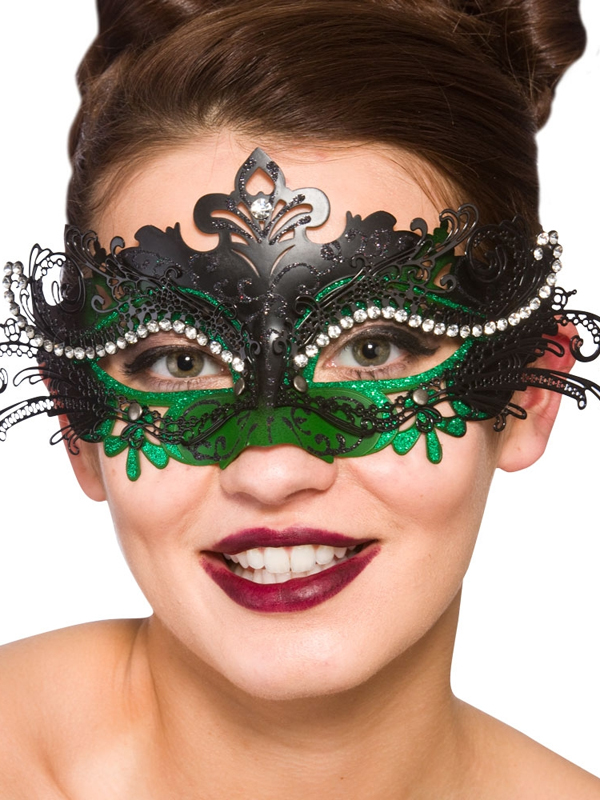 Adult Ladies Puccini Deluxe Eye Mask Black & Green