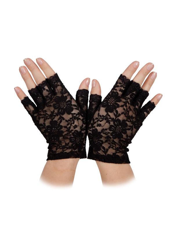 Short Lace Gloves Black