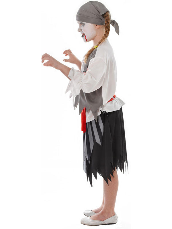 Child Zombie Pirate Girl Costume Thumbnail 2