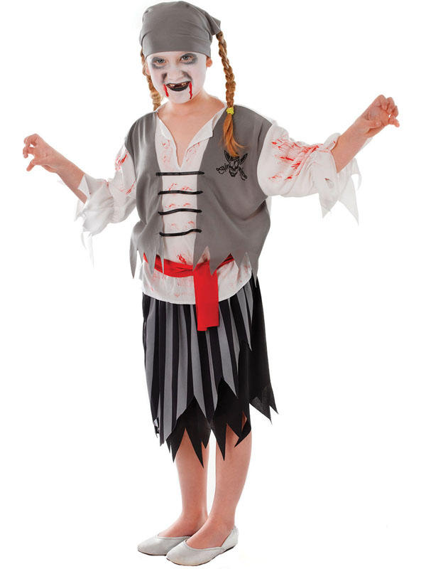 Child Zombie Pirate Girl Costume Thumbnail 1