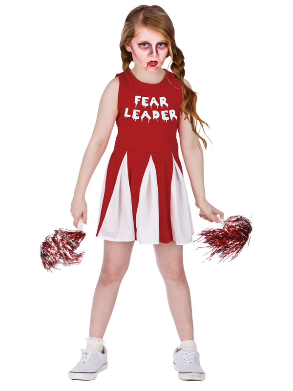 fear leader girls zombie cheerleader fancy dress halloween