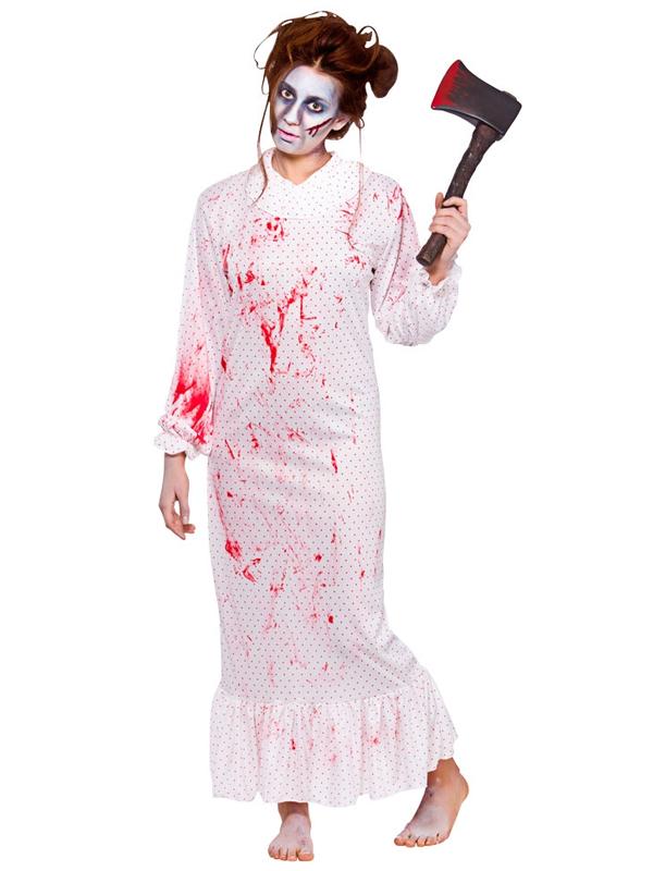 Adult Ladies Zombie Nightmare Night Gown Halloween Horror Fancy ...