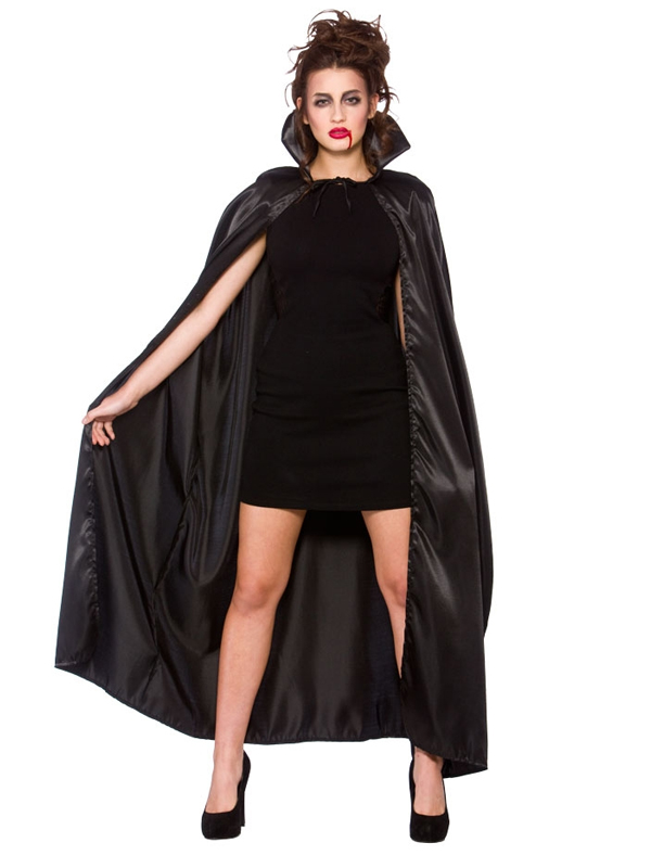 Deluxe Black Satin Cape With Collar