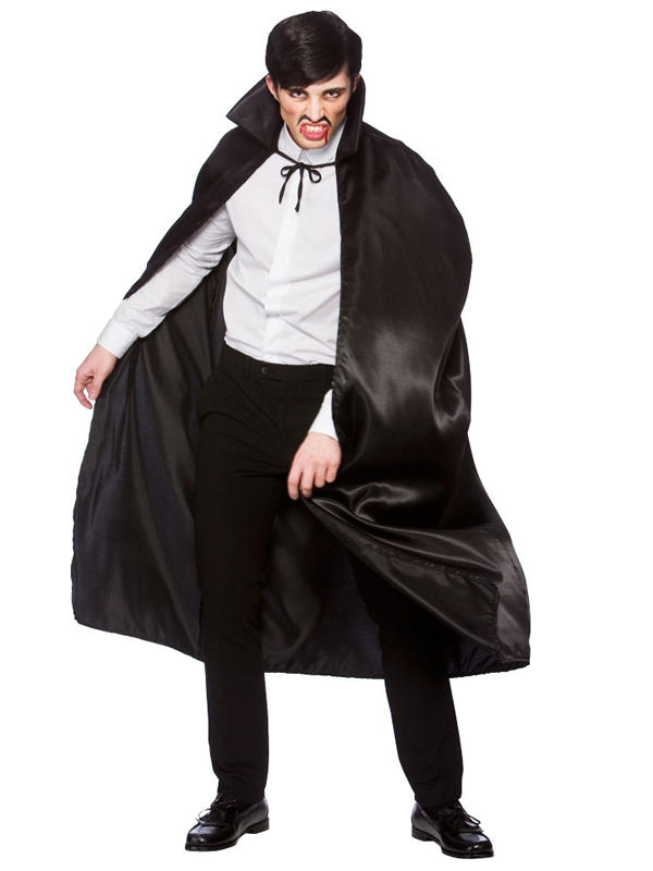 Deluxe Black Satin Cape With Collar Thumbnail 2