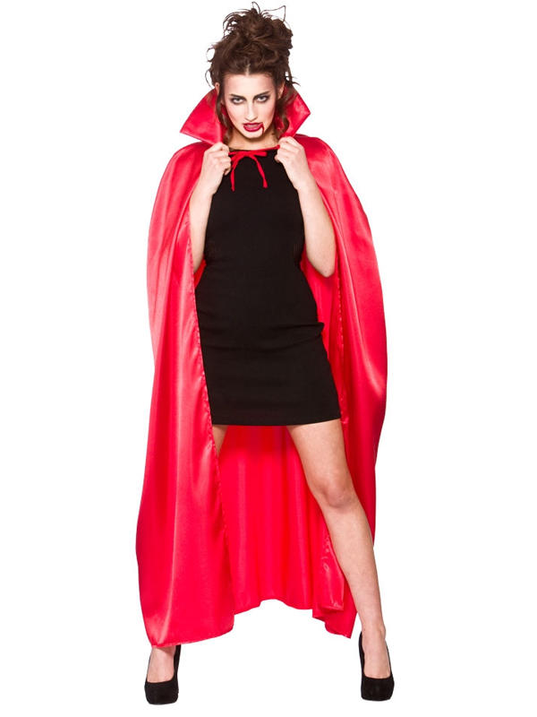 Deluxe Red Satin Cape With Collar Thumbnail 1