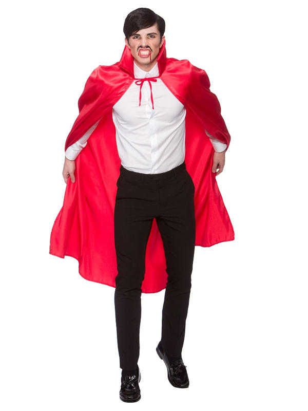 Deluxe Red Satin Cape With Collar Thumbnail 2