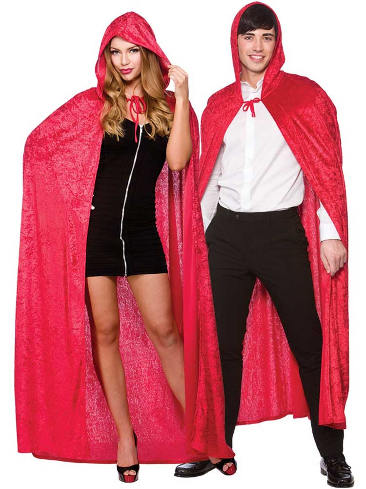 Deluxe Velvet Hooded Cape Red