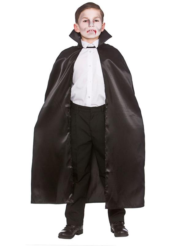Child Deluxe Satin Cape With Collar Black