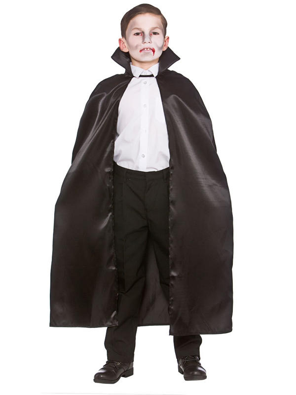 Child Deluxe Satin Cape With Collar Black Thumbnail 1