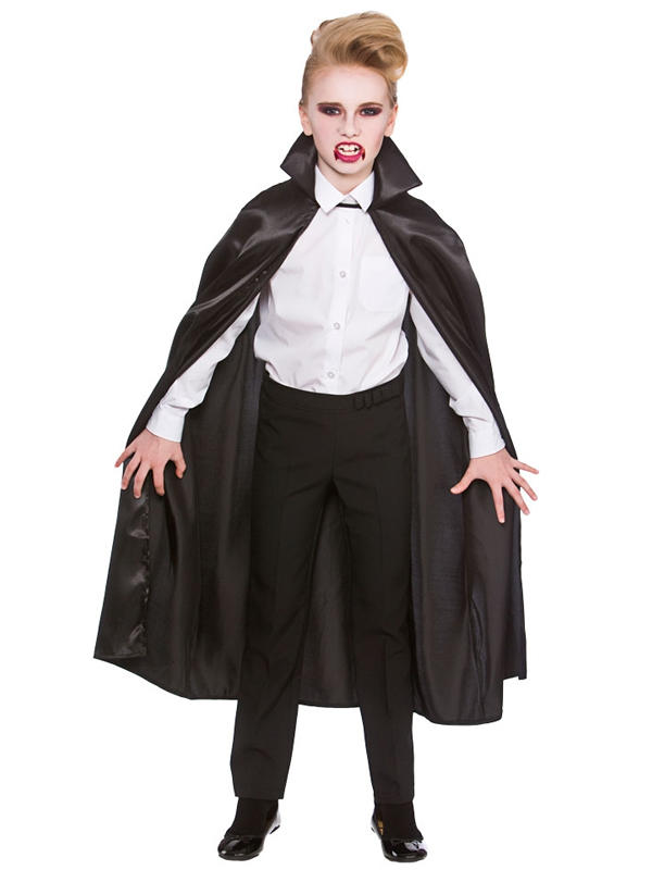 Child Deluxe Satin Cape With Collar Black Thumbnail 2