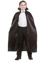 Child Deluxe Satin Cape With Collar Black