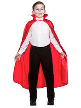 Child Deluxe Satin Cape With Collar Red