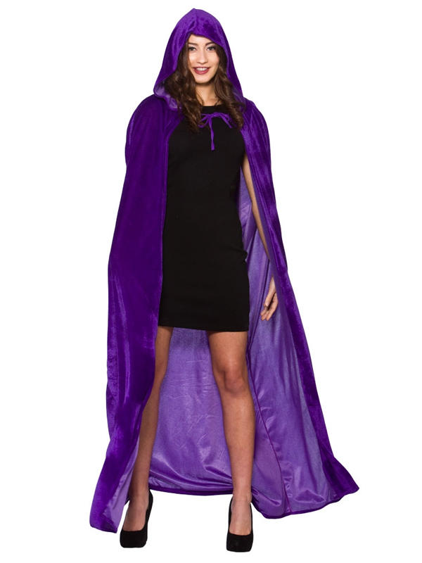 Deluxe Velvet Cape With Hood Purple Thumbnail 1
