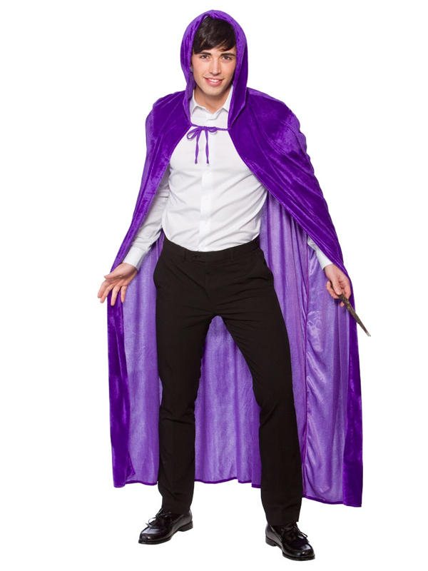 Deluxe Velvet Cape With Hood Purple Thumbnail 2