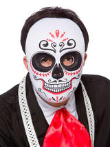 Day Of The Dead Mask Full Face Bk Red
