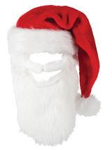 Adult Mens Deluxe Plush Santa Hat With Beard
