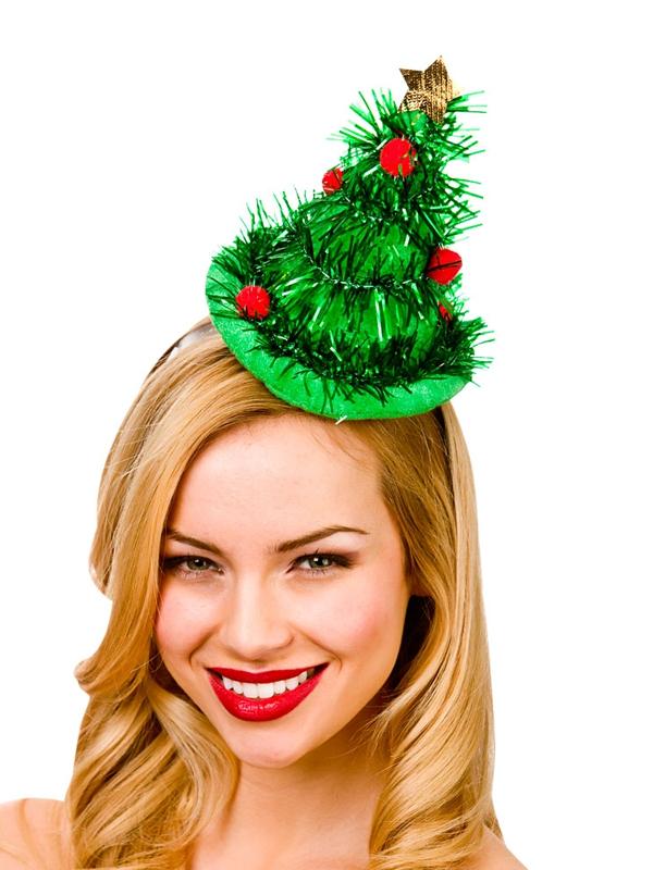 Adult Ladies Mini Tinsel Tree Hat On Headband