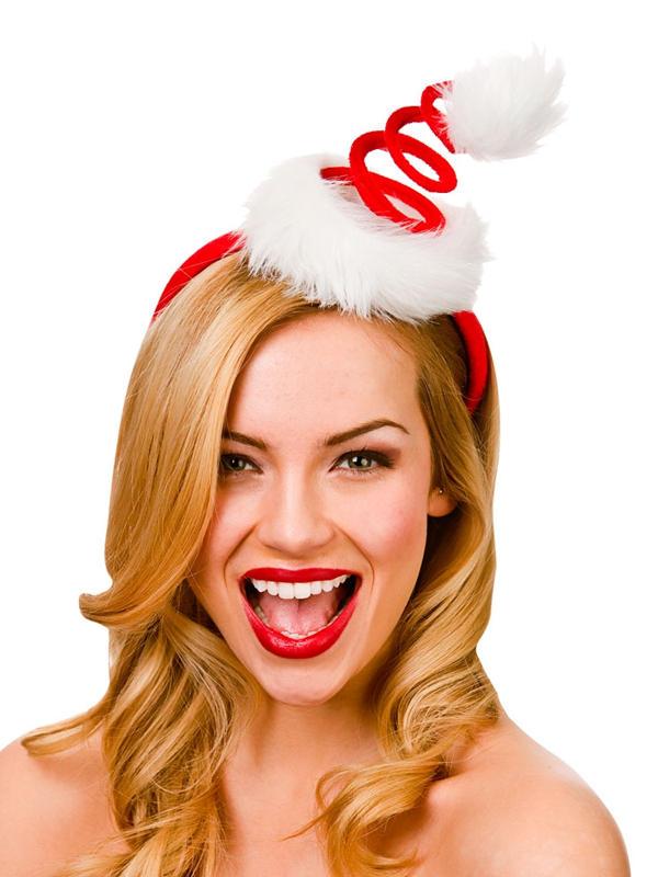 Adult Ladies Spiral Santa Hat On Headband