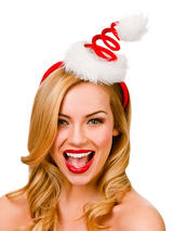 Adult Ladies Spiral Santa Hat On Headband