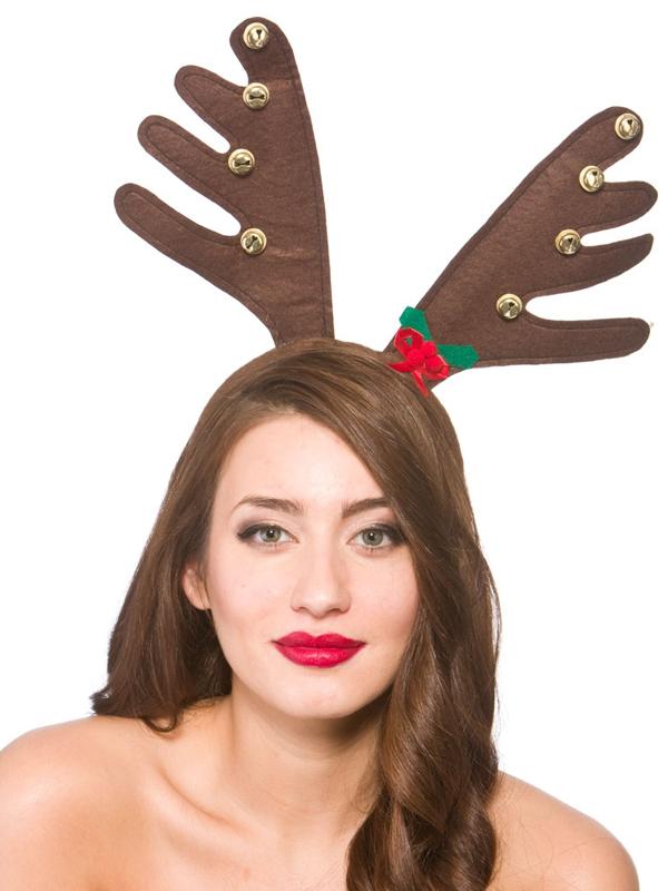 Adult Deluxe Reindeer Antlers With Bells