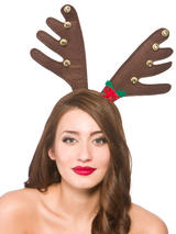Adult Deluxe Reindeer Antlers With Bells