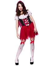 Womens Little Dead Riding Hood Horror Halloween Fancy Dress Costume Outfit New