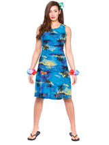 Adult Ladies Hawaii Dress Short Blue Palm Costume