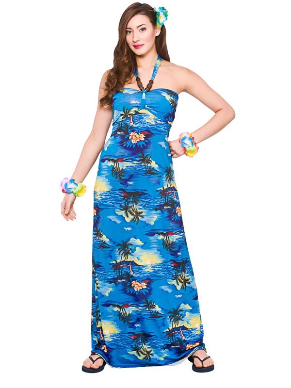 Adult Ladies Hawaii Maxi Dress Blue Palm Costume