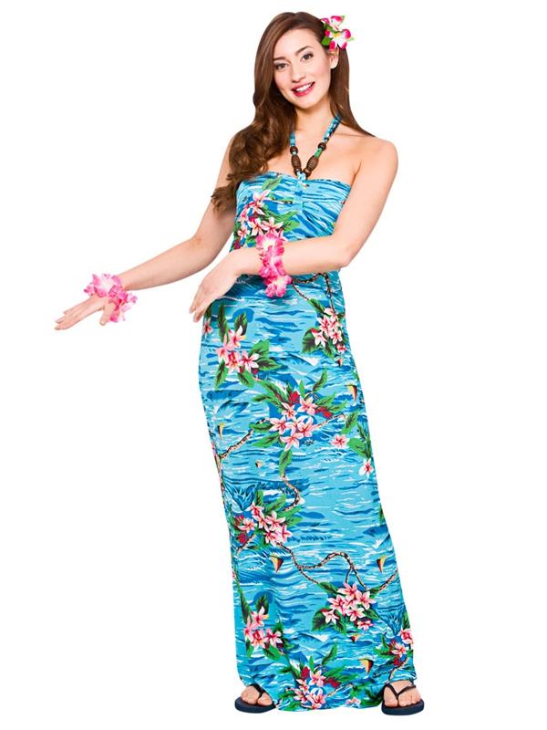 Adult Ladies Hawaii Maxi Dress Orchid Ocean Costume