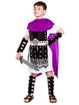 Child Roman Warrior Purple Blk Costume