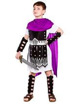 Child Roman Warrior Purple Blk Costume
