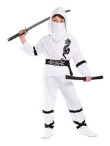 Child Boys Power Ninja White Costume