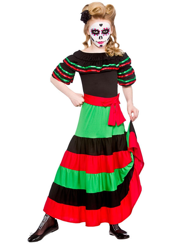 Child Girls Day Of The Dead Senorita Costume
