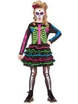 Child Girls Sweet Skully Chick Costume
