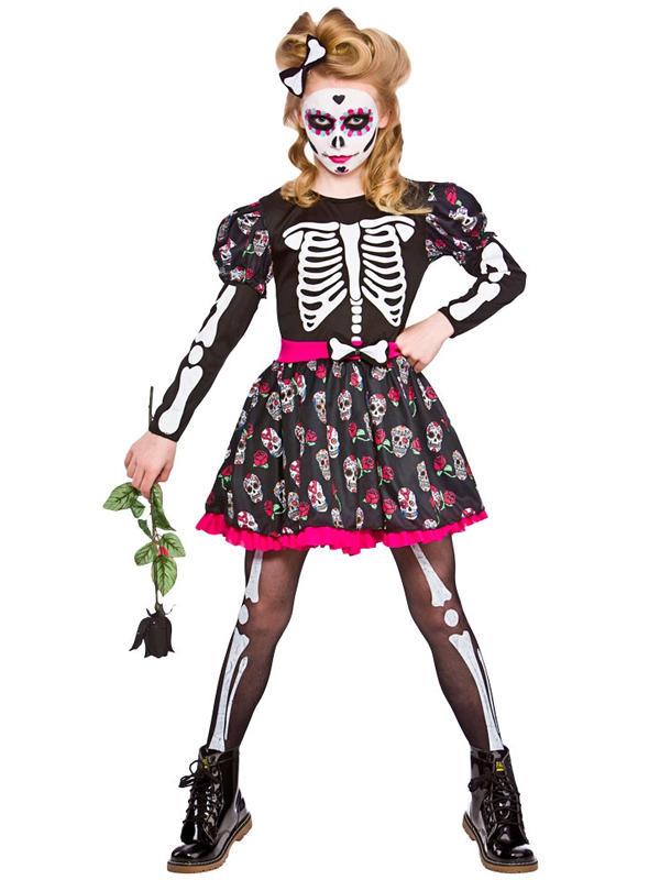 Child Girls Skull Of The Dead Costume