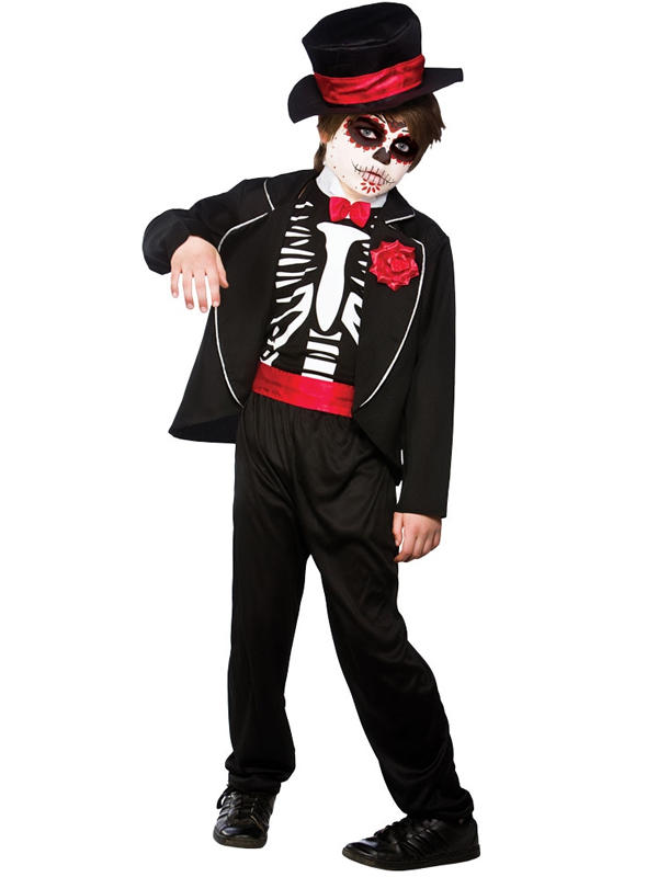 Child Boys Day Of The Dead Zombie Costume