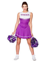 High School Cheerleader Purple Costume