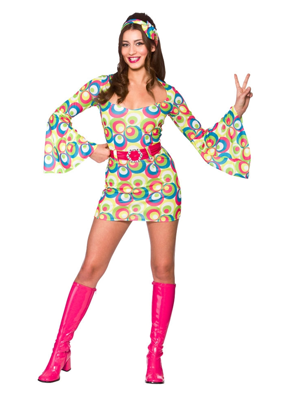Retro Go Go Girl Pink & Blue Swirl Costume