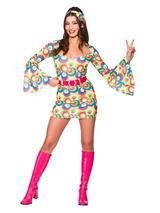 Retro Go Go Girl Pink & Blue Swirl Costume