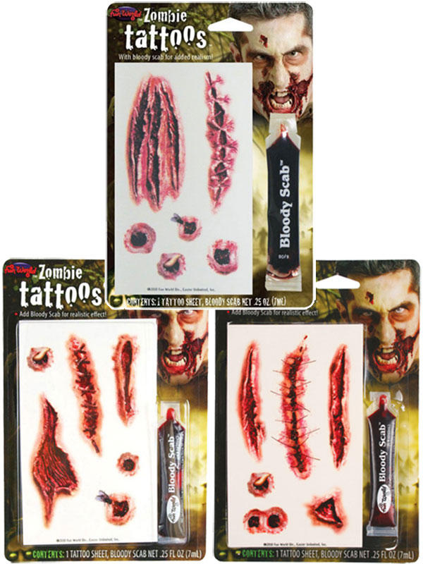 Zombie Tattoos W Bloody Scab