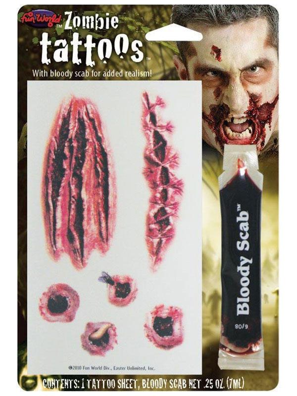 Zombie Tattoos W Bloody Scab Thumbnail 2