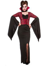Ladies Alluring Vampiress Vampire Halloween Bride Of Dracula Fancy Dress Costume