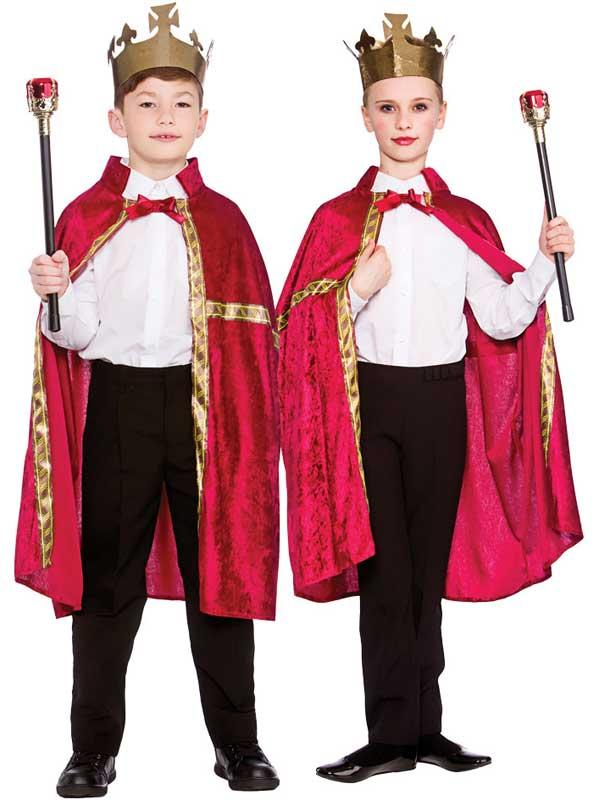 Child Deluxe King Queen Robe & Crown Burgundy Thumbnail 1
